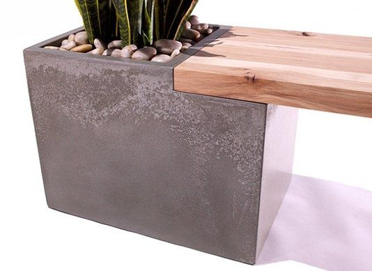 Custom Made Concrete / Wood Planter Bench