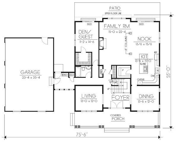First Floor Plan of Country   Craftsman   House Plan 90751