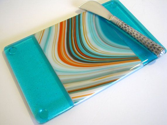 Cheese Board SouthWest  Fused Glass Platter Serving by GetGlassy, $38.00