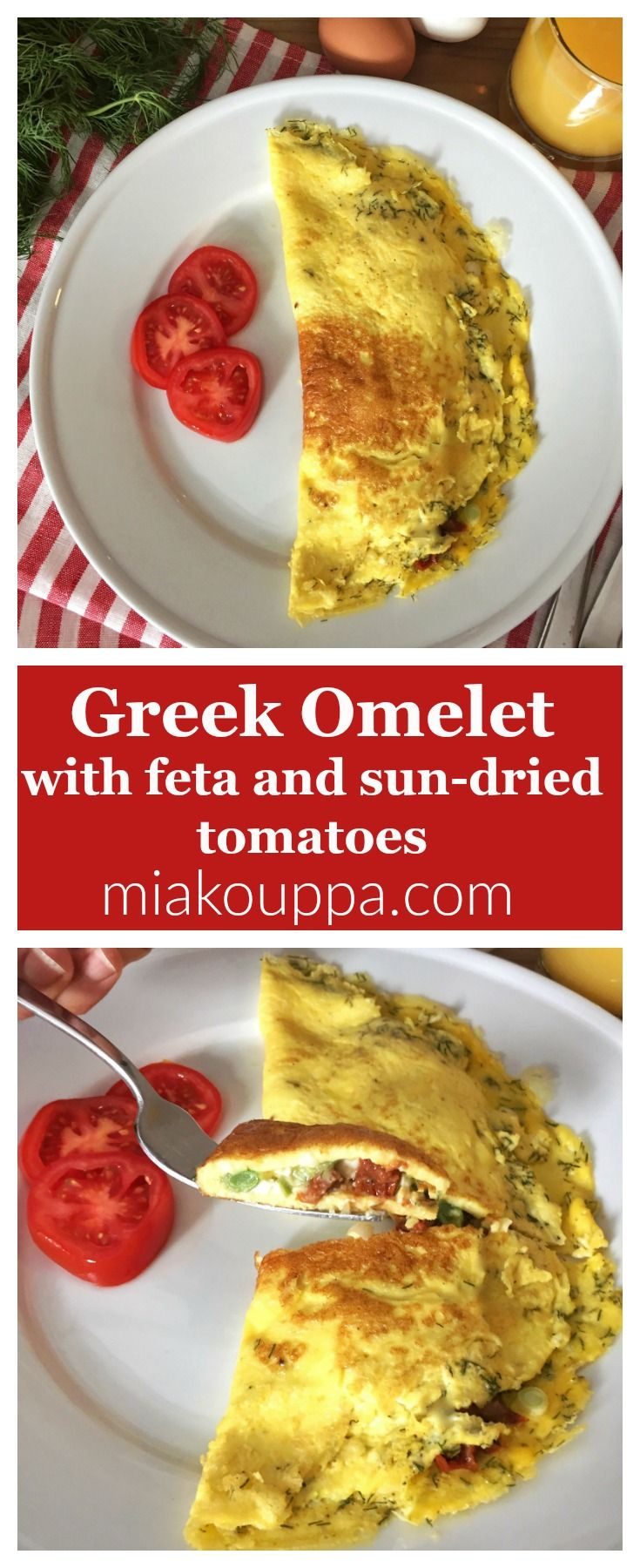 Omelette with feta and sun-dried tomatoes