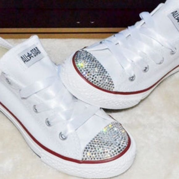 Bling Rhinestone Converse The cutest pair of converse I have ever seen! Unfortunately a size too big for me. These would fit a size 8.5 I am a 7.5 and they are a size too big. They are marked men's 7. They even come with an extra satin ribbon for the laces. Never worn brand new smoke free pet free home Converse Shoes Sneakers