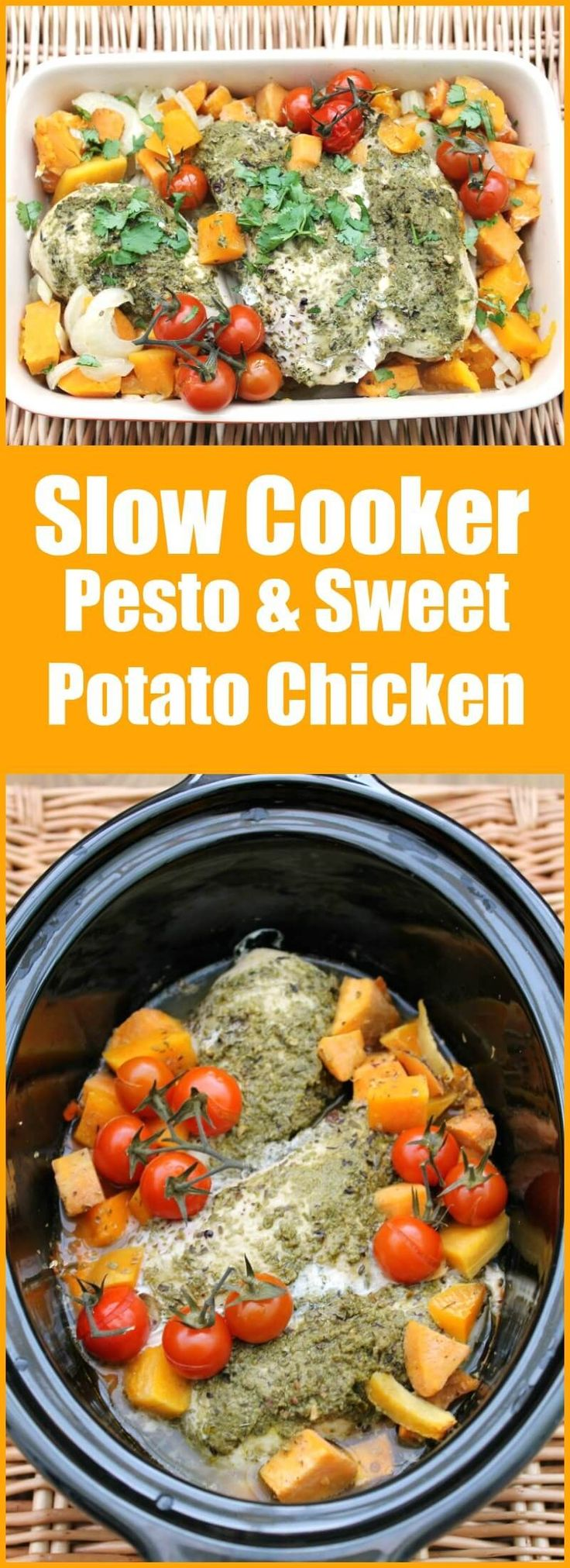 Slow Cooker Pesto and Sweet Potato Chicken - the ideal spring and summer dish to make in your crockpot, full of bright colours and fresh flavours