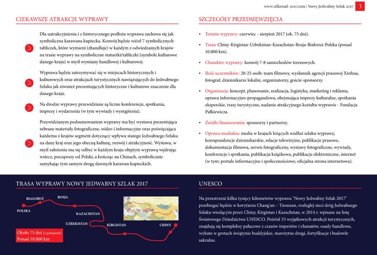 Strona 3 broszury międzynarodowej wyprawy Nowy Jedwabny Szlak 2017 - wydanie wrzesień 2016 | http://silkroad-2017.com
