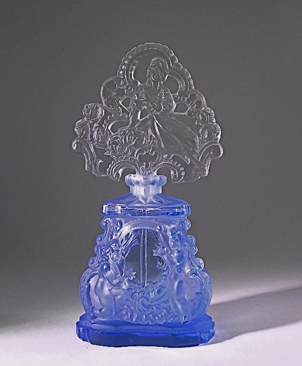 Vintage 1930s Czech Perfume Bottle in blue crystal with clear/frost openwork stopper