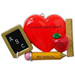Personalized Teachers Have Heart Christmas Ornament