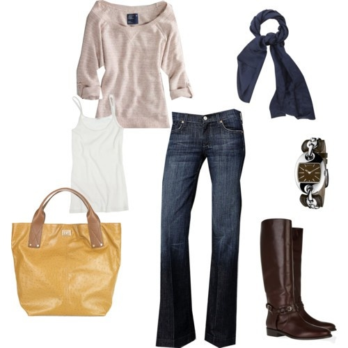 wardrobe: Fall Clothing, Style, Casual Fall, Jeans, Fall Looks, Fall Outfits, Yellow Bags, Fall Fashion, Brown Boots