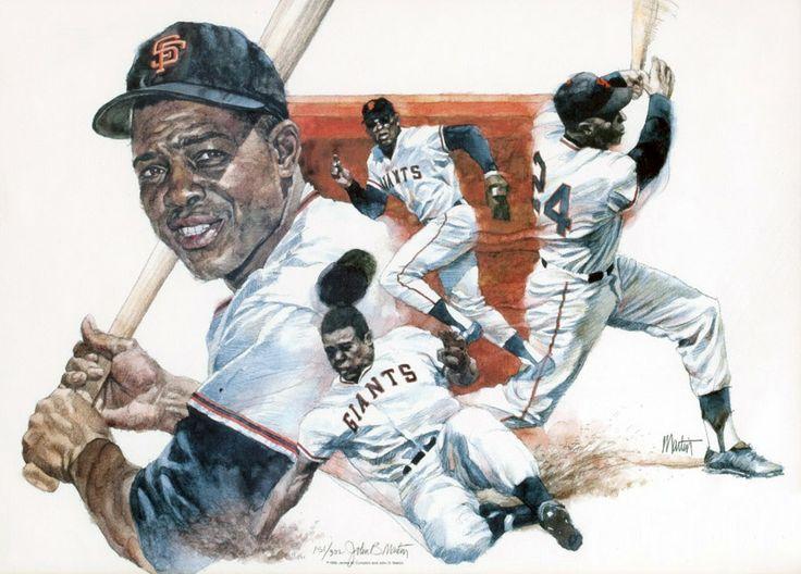 Willie Mays by John B. Martin Sports art, Baseball art