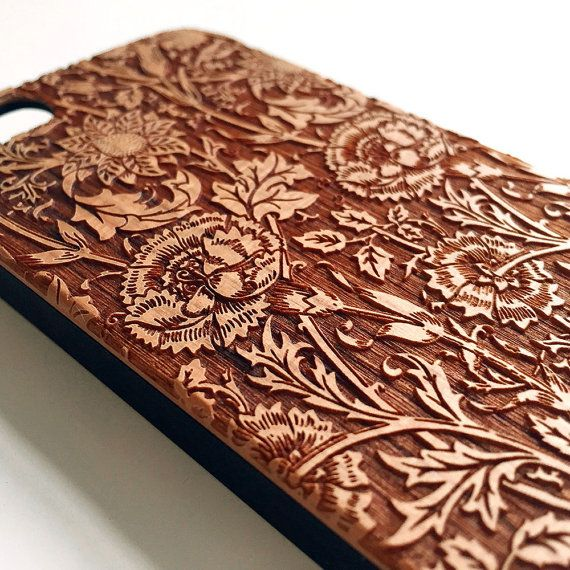 Floral real wood engraved iPhone 6 case iPhone 5s by Darkoolart