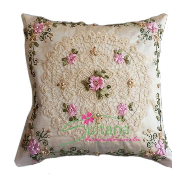 handmade embroidery cushion with silk ribbon  https://www.facebook.com/photo.php?fbid=790520594305448&set=a.790520527638788.1073741855.575744762449700&type=1&relevant_count=1