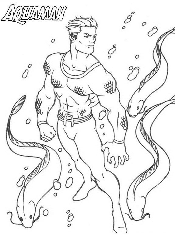 Aquaman superhero coloring page