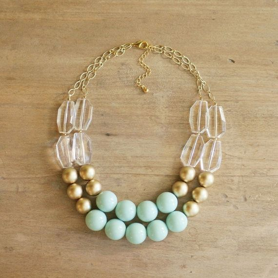 Gold and Mint Statement Necklace  Chunky Mint Bib by ShopNestled, $45.00