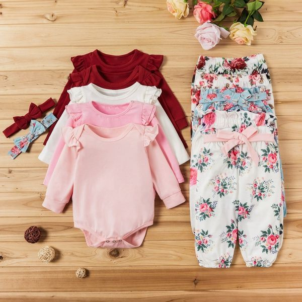 3pc Clothes Set Newborn Twins Baby Girl Long Sleeve Romper Onesies Floral Pants Headband Outfits