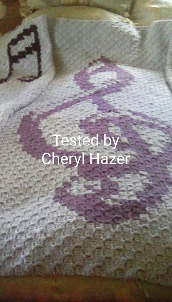 Musical Afghan, C2C Crochet Pattern, Written Row Counts, C2C