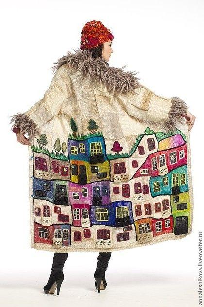 """Kabanlar el yapımı. Coat """"sonsuza kadar Hundertwasser !!!!!"""". Anna Lesnikova Lüks tarzı. Fuar Masters. Tasarım ceket, ipek"""