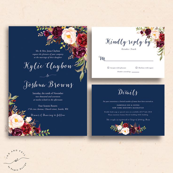 Navy Floral Wedding Invitations Navy Wedding Invite