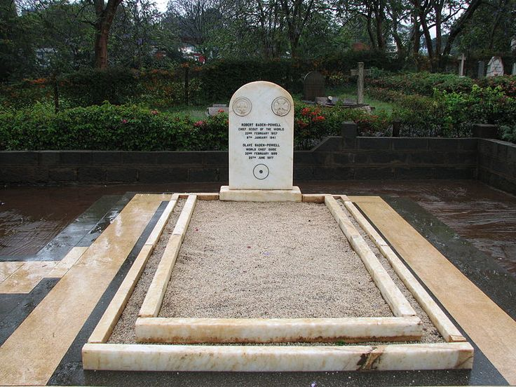 "The grave of Robert Baden-Powell,  founder of the Boy Scouts, who died in Nyeri, Kenya in 1941. When his wife Olave, founder of the Girl Guides of America, died in 1977, her ashes were sent to Kenya and interred beside her husband. Kenya has declared Baden-Powell's grave a national monument. The gravestone bears a circle with a dot in the center, which is the Boy Scout trail sign for ""I have gone home."""