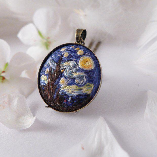 Naszyjnik haftowany Gwiaździsta noc  Vincent van Gogh