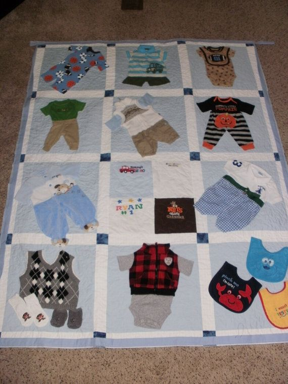 This quilt is made from whole outfits this mom saved from her sons clothing. It measures 53 xx 72. It has sashing in between the blocks. I machine quilted a meandering stitch for this quilt. Great job mom, saving the clothing.