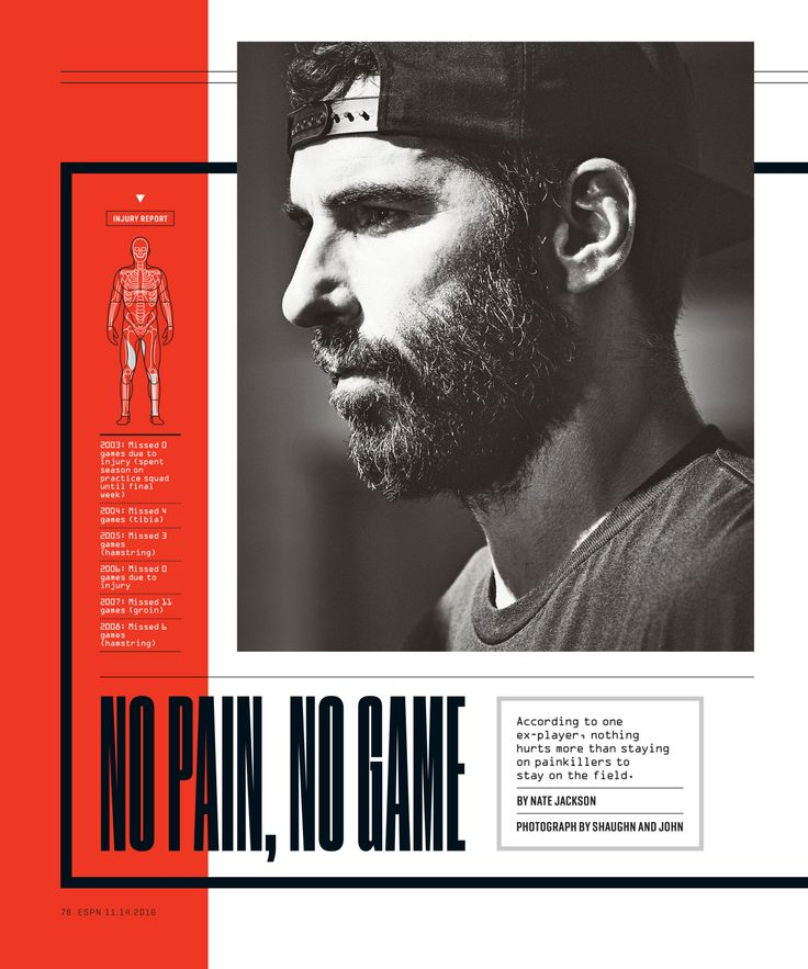 ESPN The Magazine / Playing through the Pain Photograph by Shaughn and John http://www.shaughnandjohn.com/ Body Illustrations by Todd Detwiler http://tmdetwiler.squarespace.com/