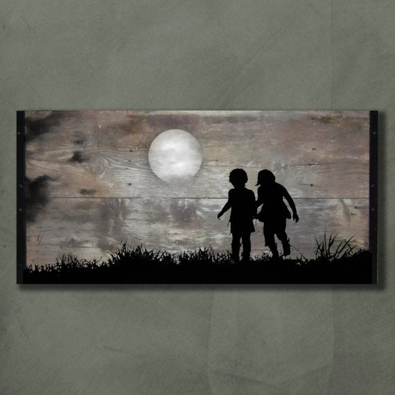 Playing in the Moonlight, Customizable Reclaimed Wood Wall Art – 41″x21″