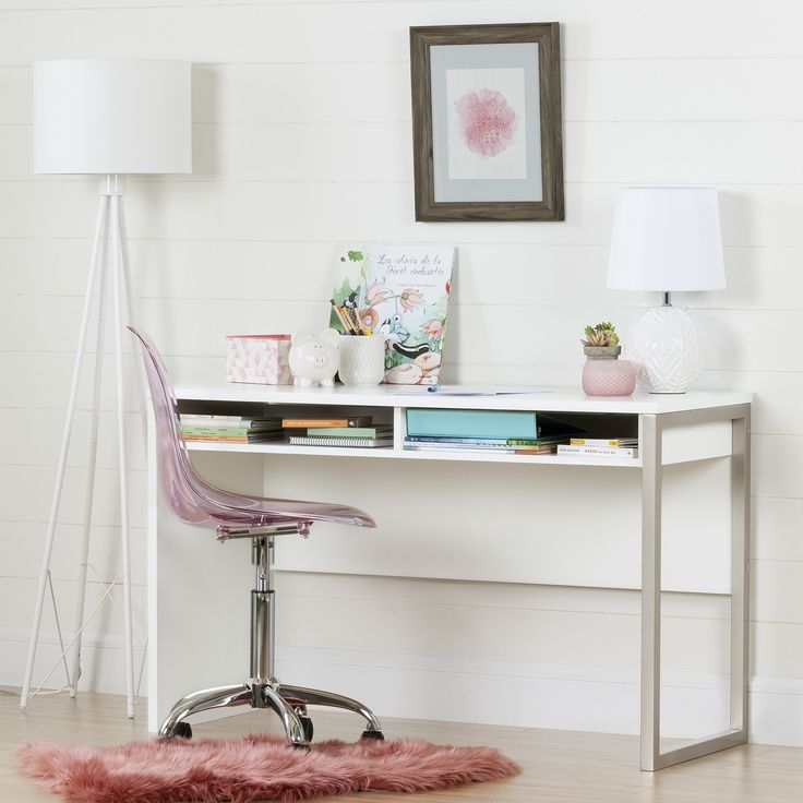 South Shore Interface Desk with Office Chair With Wheels (White - White Finish/Pink Finish)