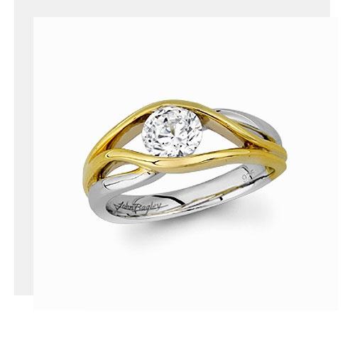 John Bagley 14kt two-tone gold designer ring.  Center diamond not included.
