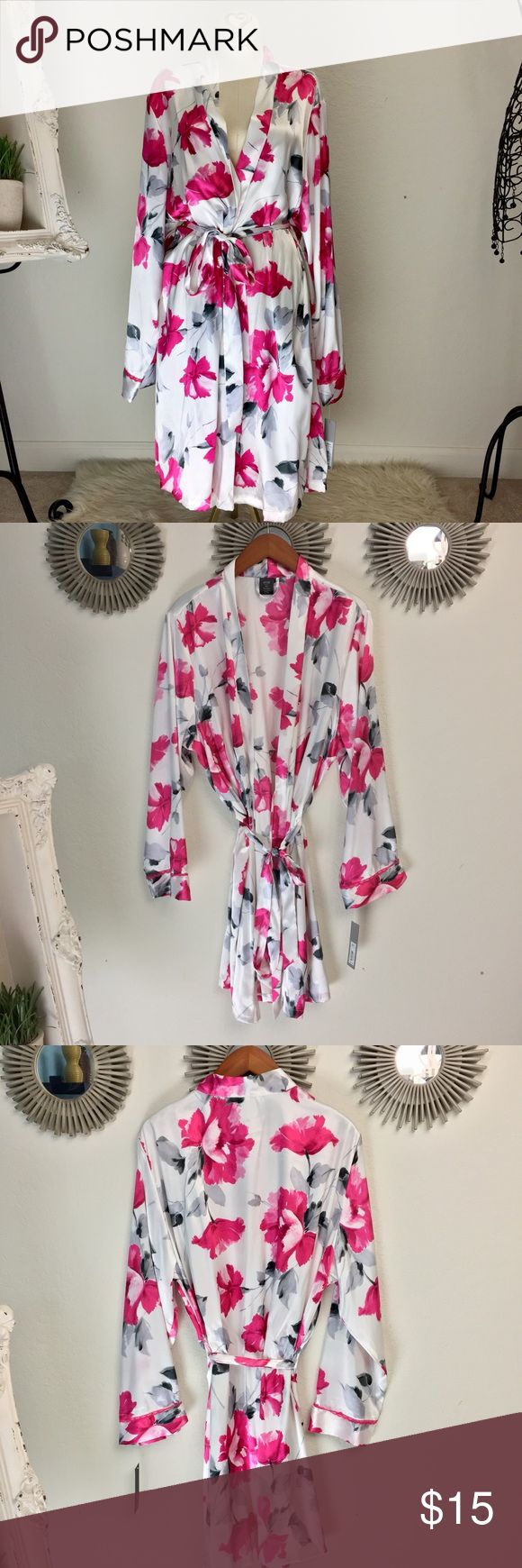 """New with tags Floral satin kimono robe by APT.9 🌷 Beautiful satin floral kimono robe. Gray, white and pink. Size XXL - can be tied with the belt to fit a size or so smaller. 36"""" length 22"""" pit to pit. Gorgeous!!! 💌 - open to offers. 🛒 bundle for a steal deal 📦 same or next day shipping Apt. 9 Intimates & Sleepwear Robes"""
