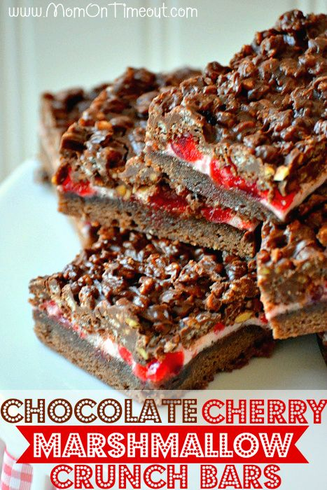 Chocolate Cherry Marshmallow Crunch Bars - A super delicious chocolatey base topped with yummy marshmallows and cherries and finished with a chocolate peanut butter rice krispies treat – oh yeah! | MomOnTimeout.com #chocolate #recipe