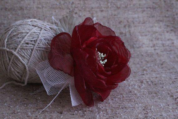 Burgundy Flower Hair Clip-Bridal hair flower-Bridal head piece-Bridesmaids Hair flower-Marsala Hair flower-Flower Fascinator-Prom Flower