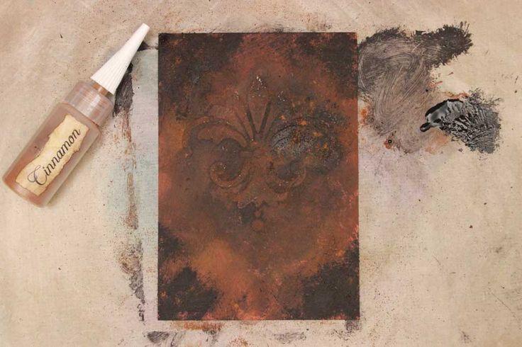 mixed media,cinnamon rust