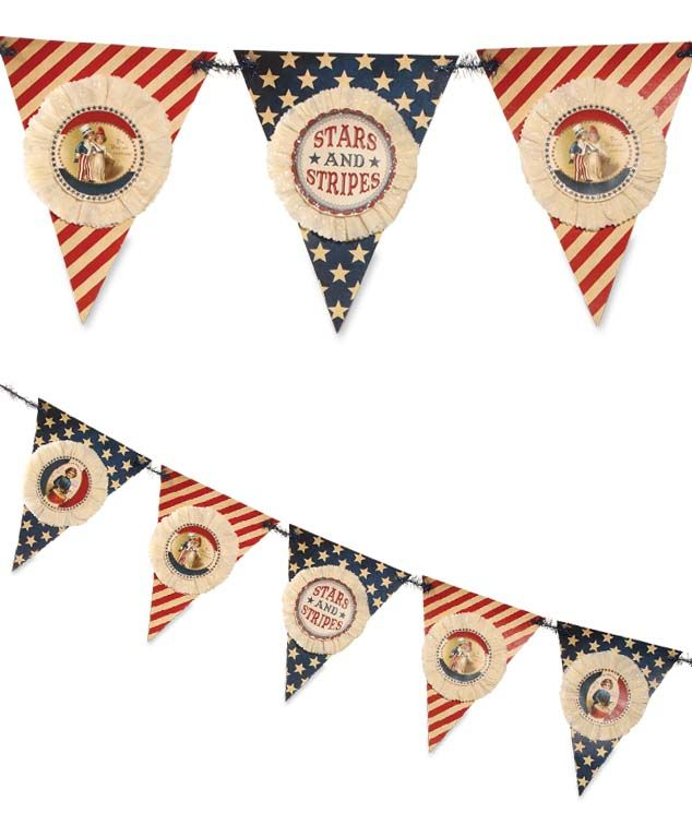 Stars & Stripes Pennant Garland Bethany Lowe Decorations at TheHolidayBarn.com Fourth of July vintage inspired party decor.