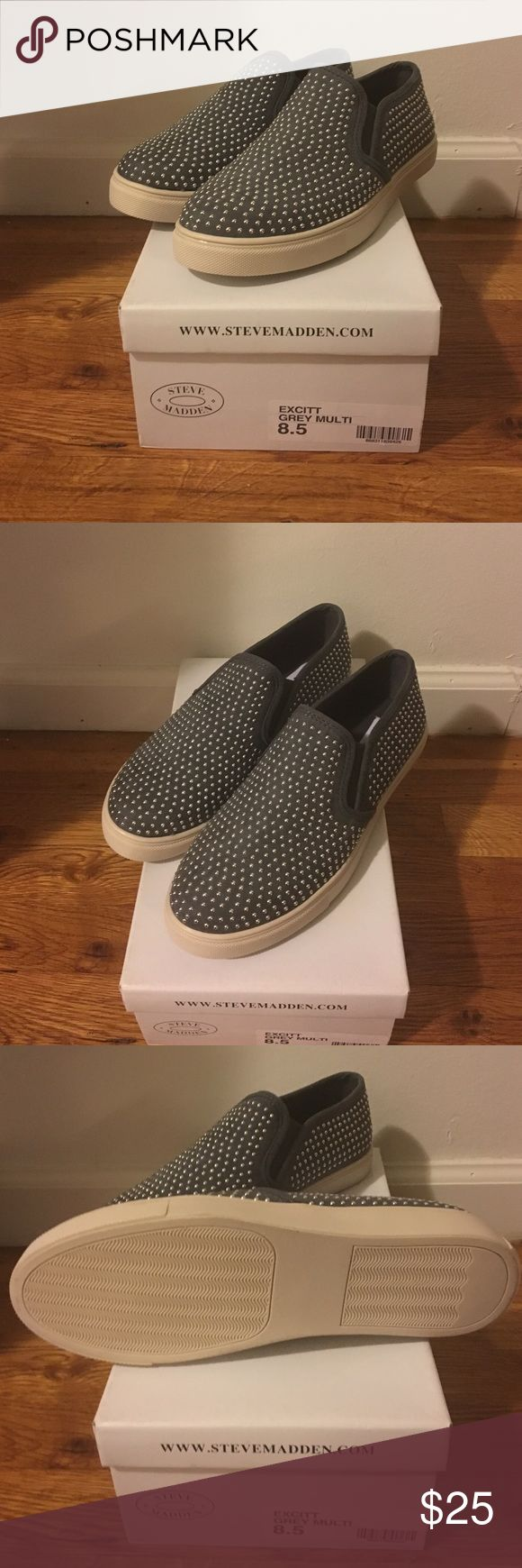 Brand New! Steve Madden Gray Studded Sneakers Gray Studded slip on sneakers. Never worn Steve Madden Shoes Sneakers