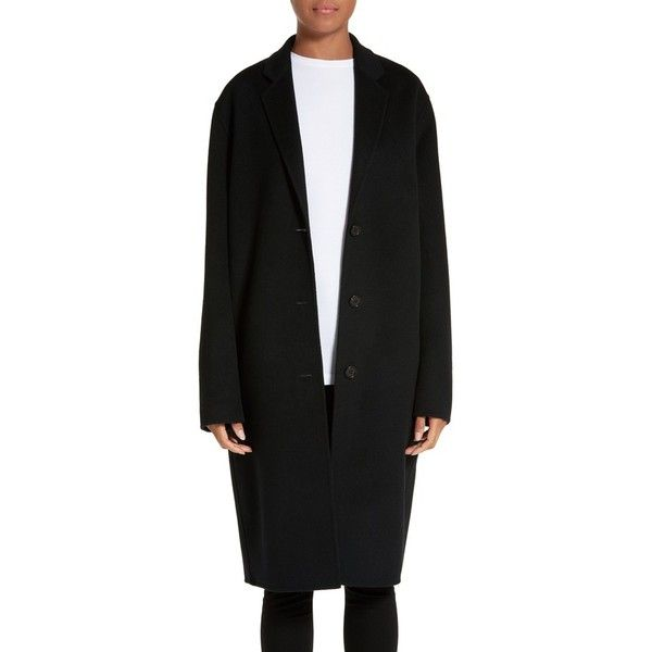 Women's Acne Studios Avalon Wool & Cashmere Coat (£950) ❤ liked on Polyvore featuring outerwear, coats, black, wool cashmere coat, woolen coat, cocoon shrug, wool cocoon coat and shrug cardigan
