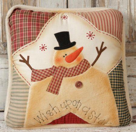 cute snowman pillow... snowman on a star...patchwork background