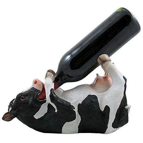 Drinking Cow Wine Bottle Holder Statue in Country Farm Kitchen Bar Decor Wine Stands & Racks and Decorative Animal Sculpture Gifts for Farmers - http://rustic-touch.com/drinking-cow-wine-bottle-holder-statue-in-country-farm-kitchen-bar-decor-wine-stands-racks-and-decorative-animal-sculpture-gifts-for-farmers/