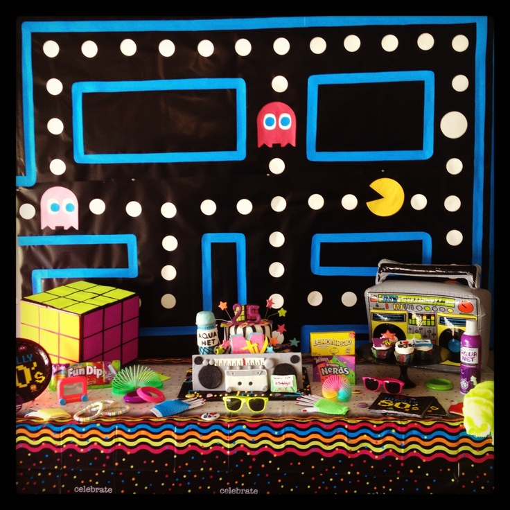 Totally Rad 80's Party Table - Pacman background, Rubic cube, boom box, nerds, leg warmer, fishnet gloves etc!
