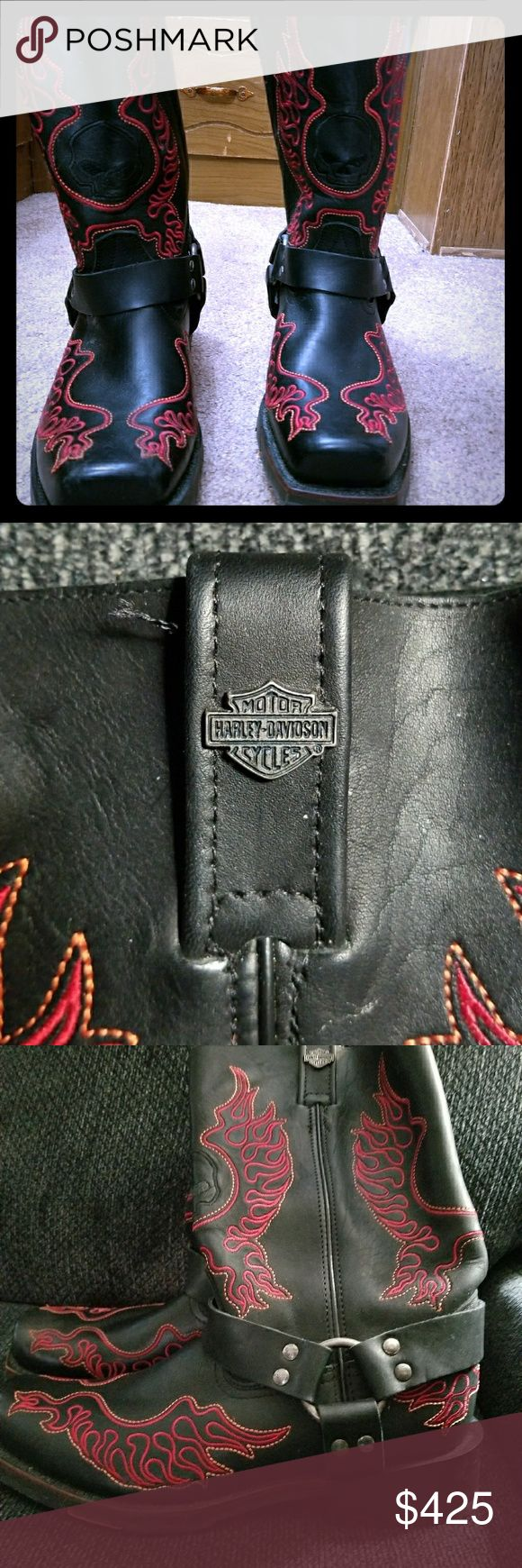 NWOT MENS H.D. BLACK BOOTS NWOT Mens Harley-Davidson Biker Boots in Black with Red Flames. SIZE 10. Square Toe. These boots have not been worn and ARE SOLD AS IS.  🚫 Trades or Holds or Low Bids Accepted on this Item. Harley-Davidson Shoes Boots #harleydavidsonboots