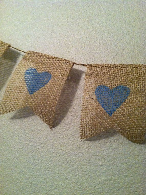 6 Blue heart burlap and jute banner baby boy baby shower bunting mini