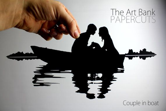 Papercut silhouette couple in a boat love on the by TheArtBank. Get this paper cut in to make somebody's Christmas Super Special!