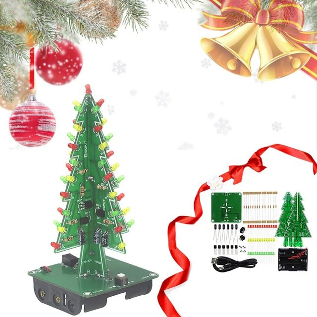 Three Dimensional 3d Christmas Tree Led Diy Kit Red Green Yellow Rgb Led Flash Circuit Kit Electronic Fun Suite Review 3d Christmas Tree Diy Kits Led Diy