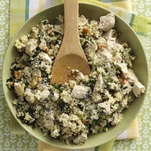 Parmesan Chicken Couscous Recipe.  Take your leftover chicken from the night before and repurpose it into an innovative dish.  Use quinoa instead of couscous for an even higher protein meal.