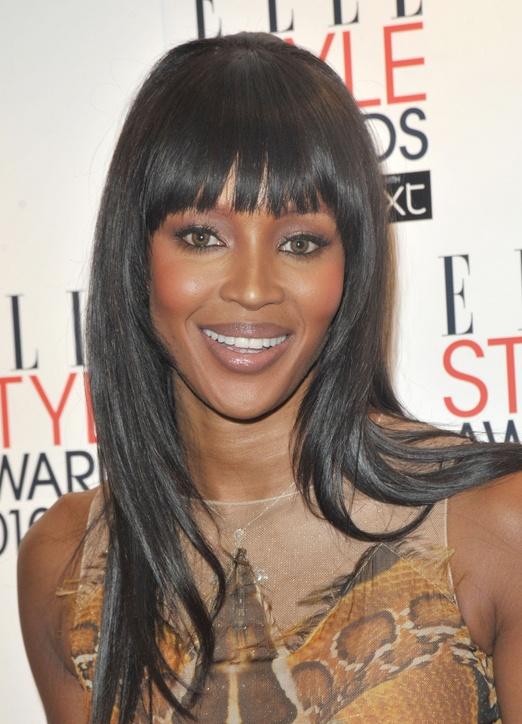 naomi campbell with blunt bangs