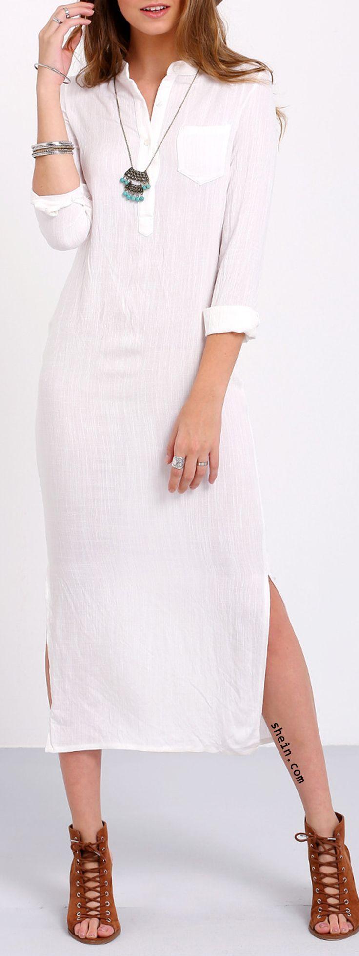 White Long Sleeve Split Long Dress