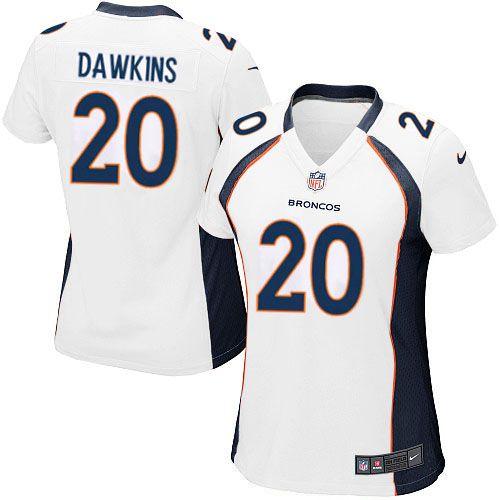 Women's Nike Denver Broncos #20 Brian Dawkins Limited White NFL Jersey Sale