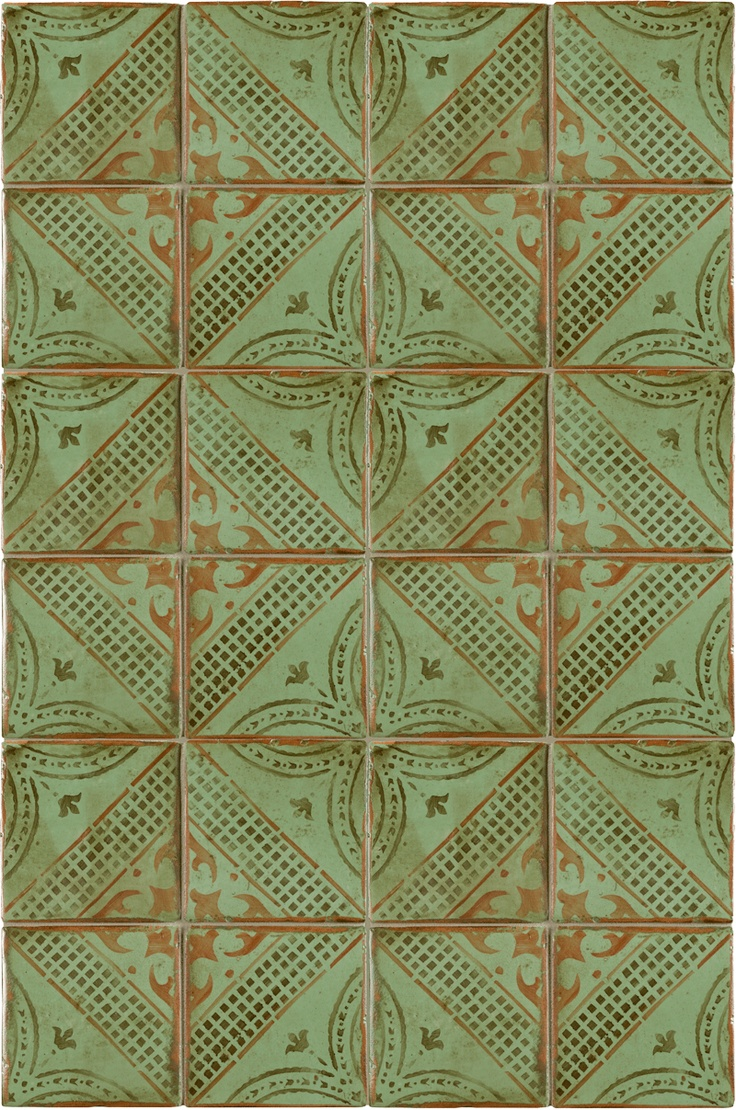 245 best colour green tiles images on pinterest bathroom green ann sacks tiempo x gitanos 1 terra cotta decorative tile in mocka antique green and paprika dailygadgetfo Choice Image