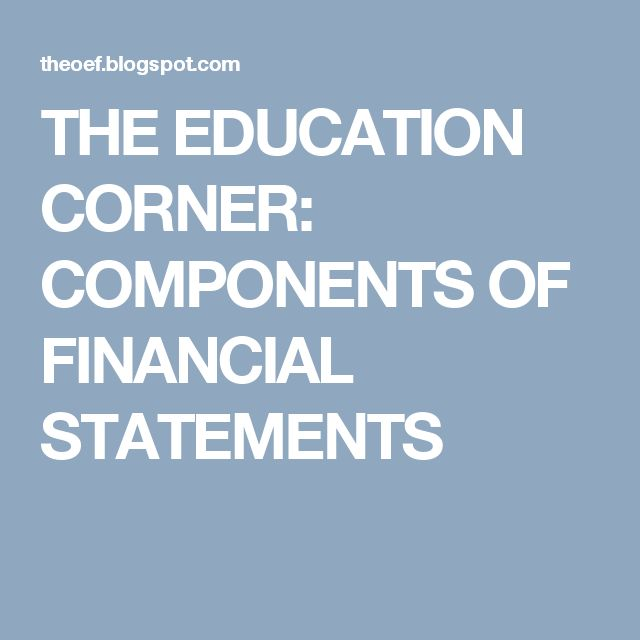 THE EDUCATION CORNER: COMPONENTS OF FINANCIAL STATEMENTS