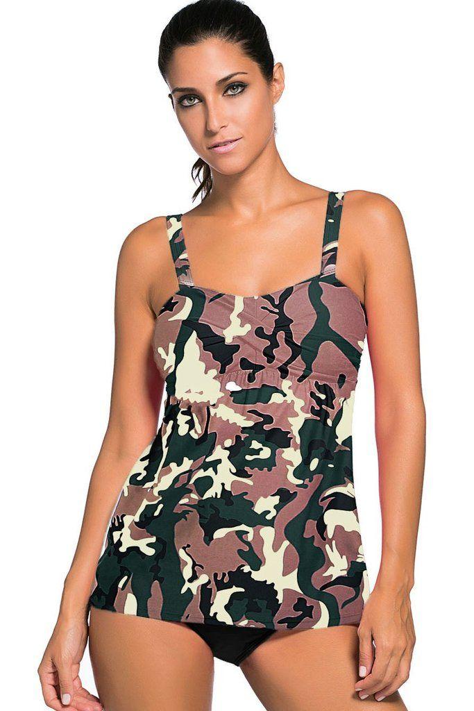 Maillot de Bain Tankini Grande Taille Camouflage Impression 2Piece MB41933-22 – Modebuy.com
