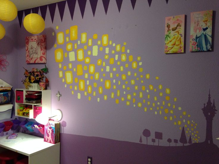 Disney Princess and Rapunzel Tangled themed kids room. I free handed the lanterns and Rapunzel's tower.