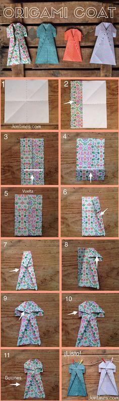 Origami coat - Abrigo de Origami - Origami easy for kids - Origami fácil para niños