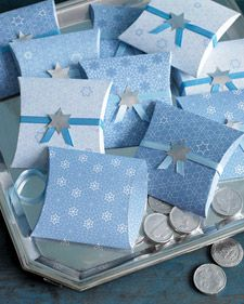 DIY Hanukkah clip-art favor boxes. See here for how to use toilet paper rolls to make pretty pillow gift boxes (pictured for Valentine's Day but easily dressed up for any holiday): http://www.inkstitch.net/inkstitch/2011/02/upcycled-valentine-mini-gift-boxes/